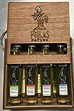 Pellas Nature | Fresh Organic Infused Olive Oil Gift Set | Finishing Oil | Red Hot Pepper | Basil | Garlic | Rosemary | Wooden Gift Set | Single Origin Greek EVOO | 4 X 1.7oz Bottles