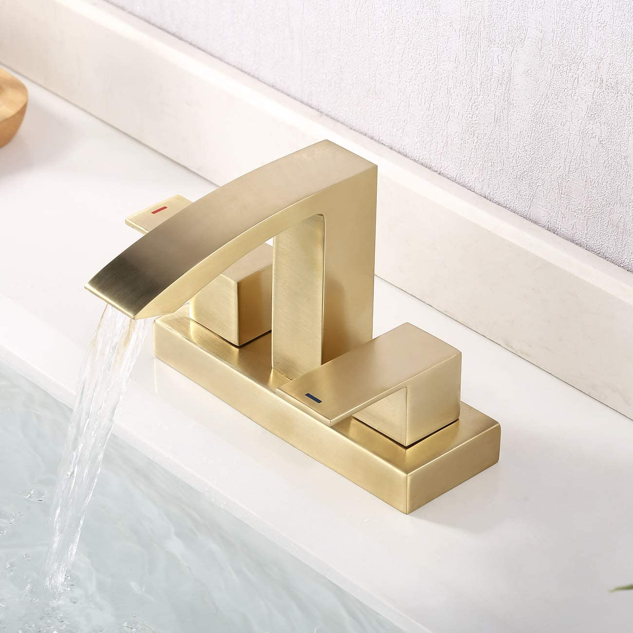 KES Brushed Brass Bathroom Sink Faucet Two Handles 3 Hole 4 Inches Centerset Modern Vanity Lavatory Faucet Lead Free Brass Chrome Sink Drain and Supply Hoses Included , L4101LF-BZ