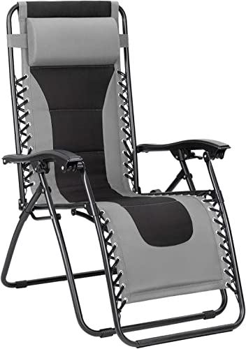 Flamaker Oversize Patio Zero Gravity Chair Padded Adjustable Recliner Outdoor Lounger Chair with Headrest for Poolside, Yard and Camping Grey