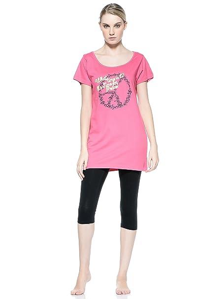 Cotonella Pijama Maxi Camiseta + Leggins Fucsia/Negro M