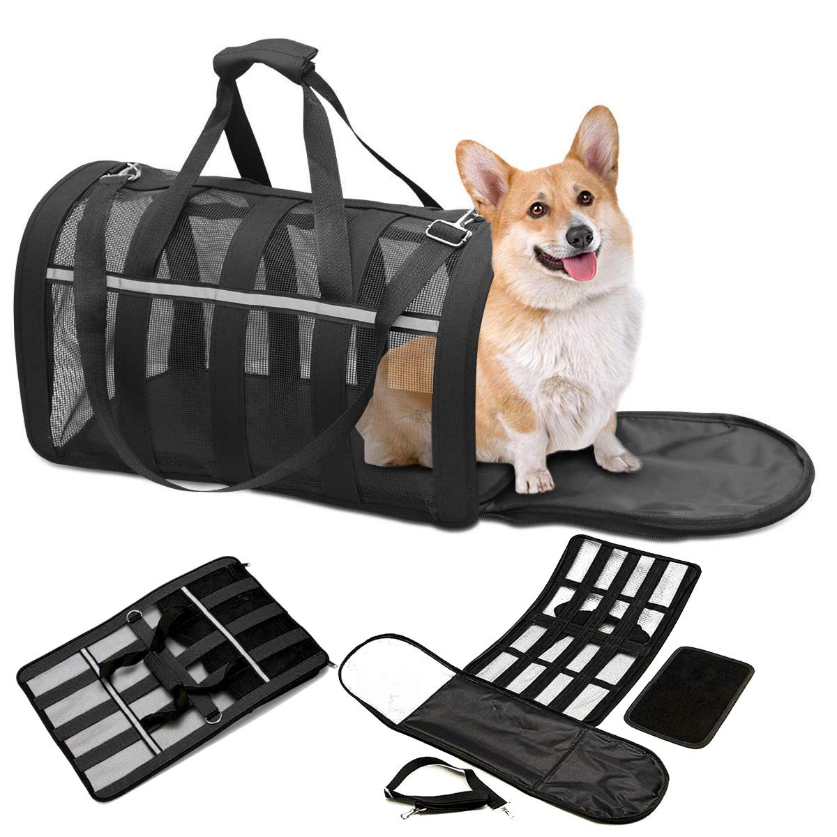 CLEEBOURG Pet Carrier Bag Airline Approved Dog Cat Travel Carrier Bags Lightweight Collapsible Under-seat Animal Carrier Bag for Pets Mesh Webbing Black