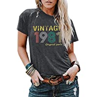 40th Birthday Gift Shirts Vintage 1981 Original Parts Tshirt for Women Letter Print Retro Birthday Party Casual Tee Tops