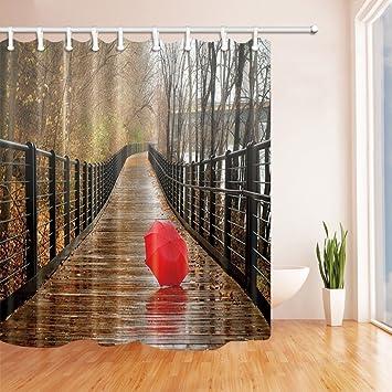 nyngei Nature Scenery Vorhänge Dusche für Badezimmer rot Regenschirm ...