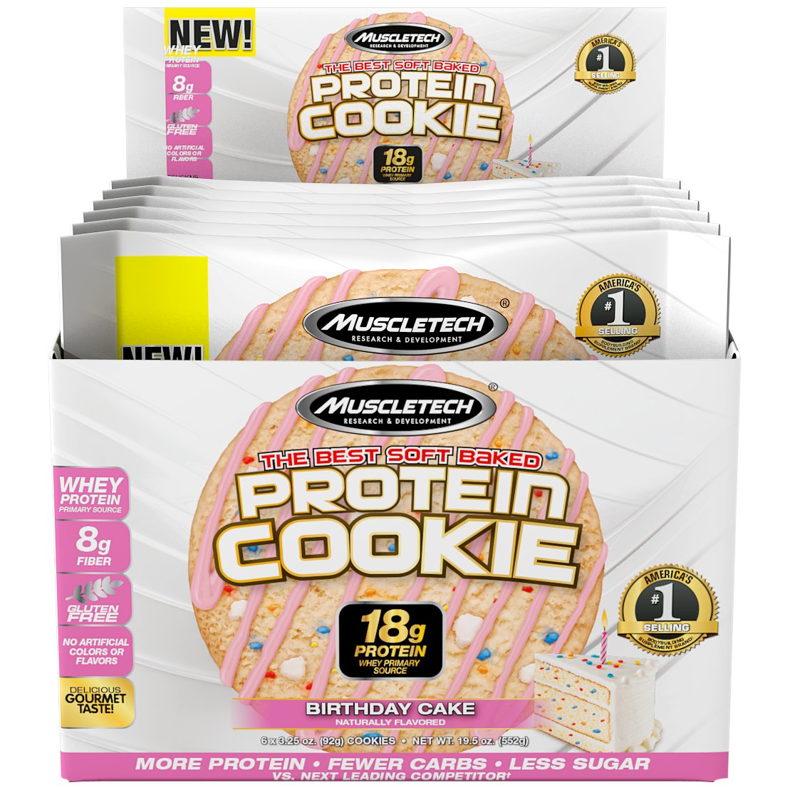 MuscleTech Soft Baked Whey Protein Cookie, Birthday Cake, Gluten-Free, 3.25-ounce (Pack of 6-92g)