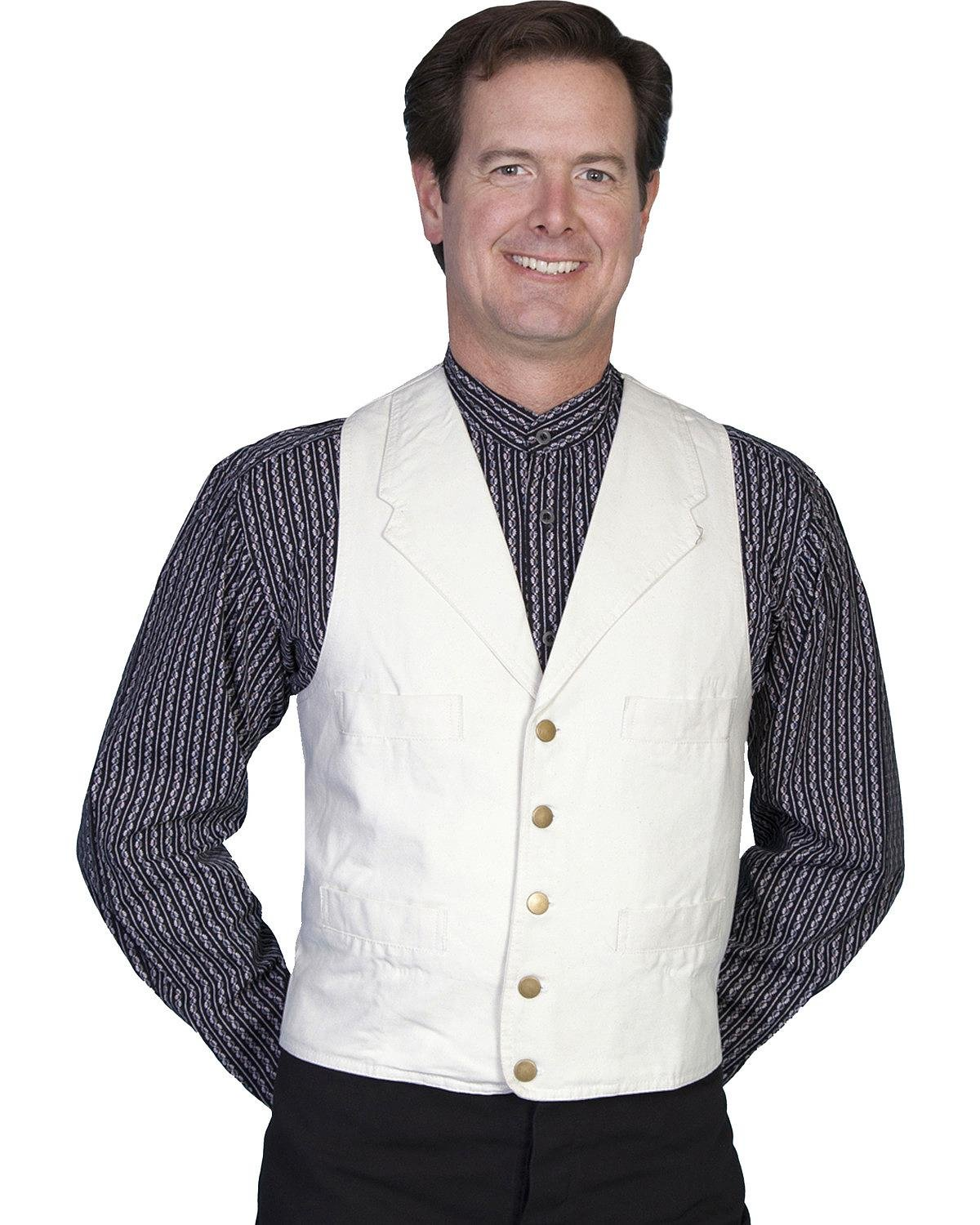 Scully Rangewear by Men's Rangewear Frontier Canvas Vest Natural Medium by Scully