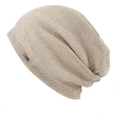 241ee47d373 Casualbox Mens Light Weight Breathable Beanie Knit Hat Slouch Baggy Style  Plain Color Beige  Amazon.co.uk  Clothing