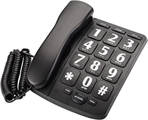Suwimut Big Button Phone for Senior, Amplified Large Button Corded Phone for Senior, Landline Phone for Home Wall or Desk with Speaker and Memory, Wall Mountable, Black