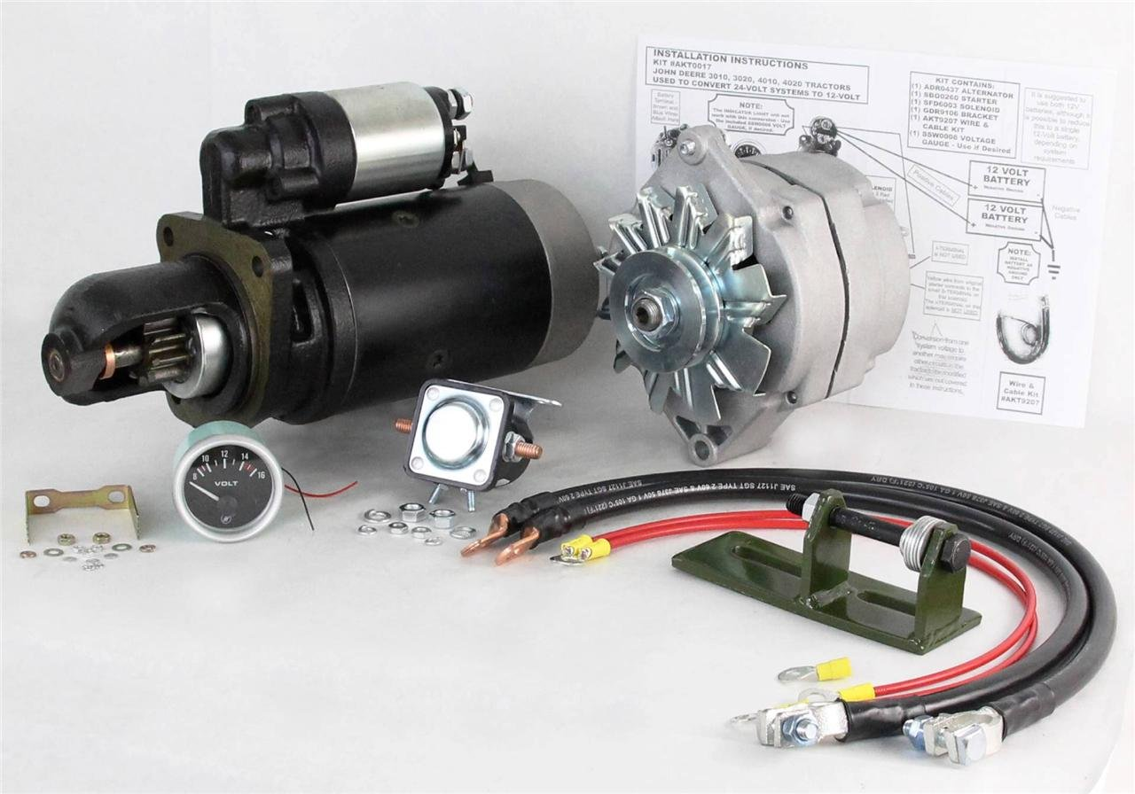 24 To 12 Volt Alternator Starter Conversion Kit Fits Re John Deere Tractor 3010 Ts 8000 Ty16172 Se501474 Automotive