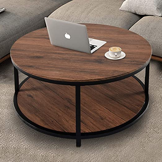 Amazon Com 36 Wood Round Coffee Table Industrial Wood Top