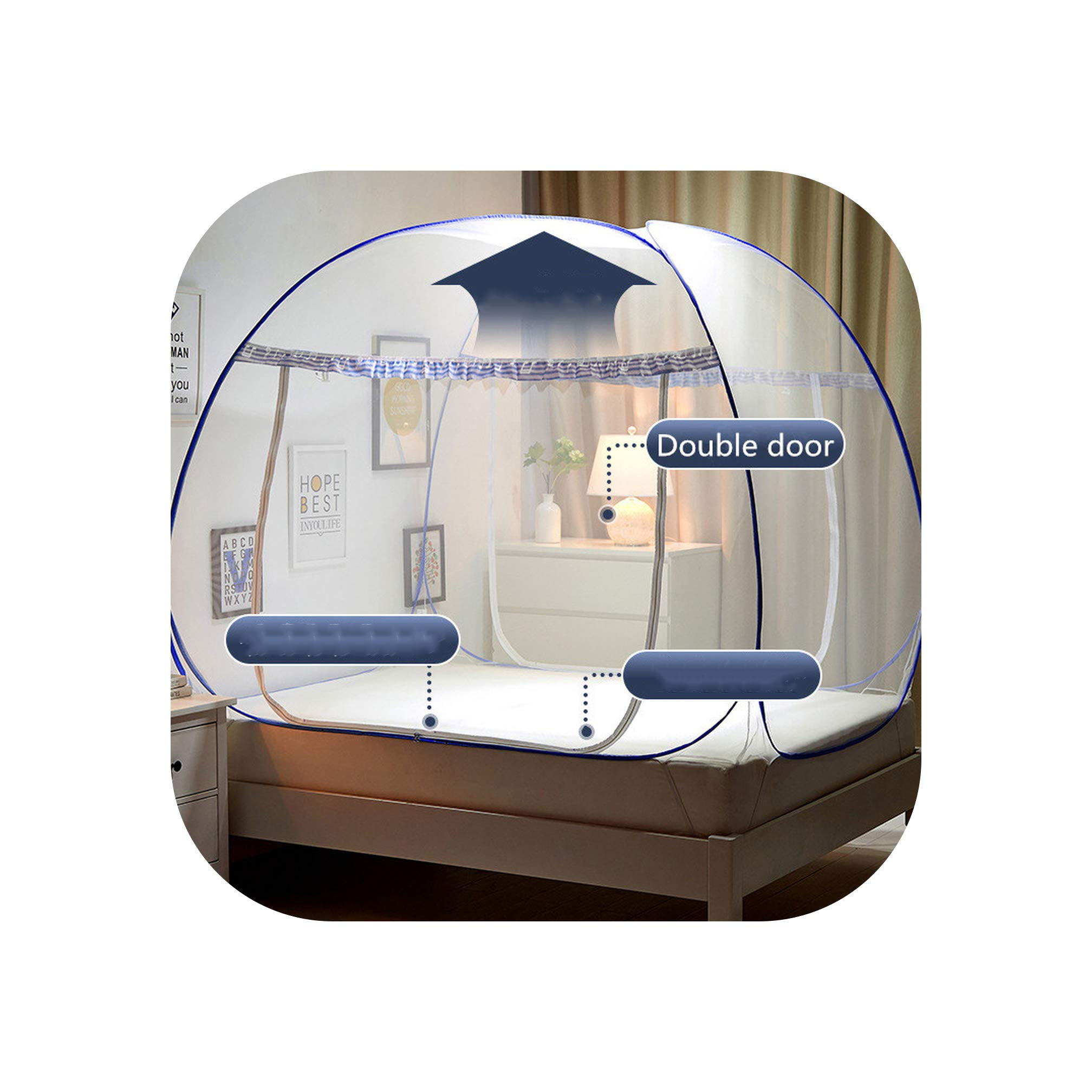 Folding Mosquito Net for Student Adults Double Bed Mosquito Netting Mesh Modern Style Anti Falling Bed Nets,Blue Notes. 2 Door,1.2m (4 feet) Bed