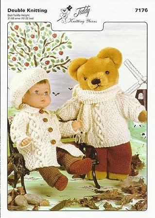 Patrón para tejer para la muñeca y oso de peluche de suéter, bufanda, pantalones
