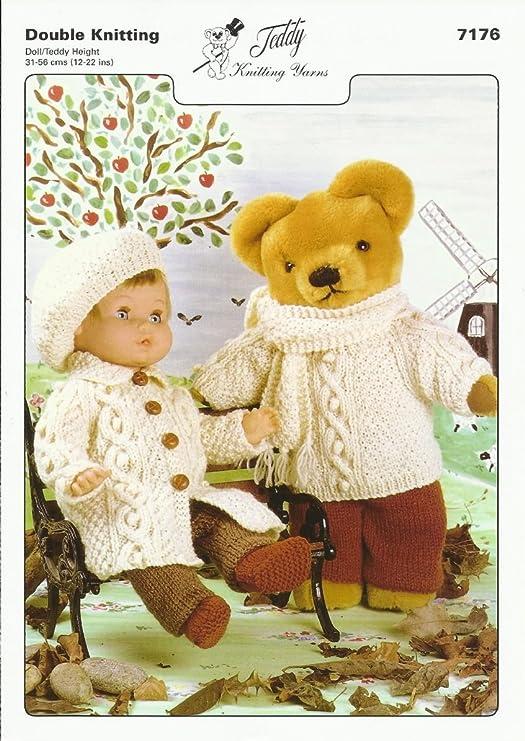 Patrón para tejer para la muñeca y oso de peluche de suéter, bufanda ...