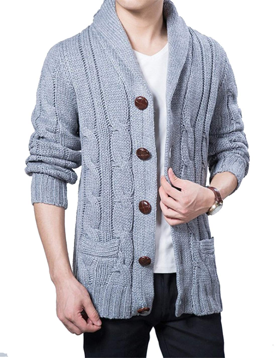 Lentta Mens Heavy Weight Shawl Collar Button Down Cable Knitted Cardigan Sweater (X-Large, Light Grey)