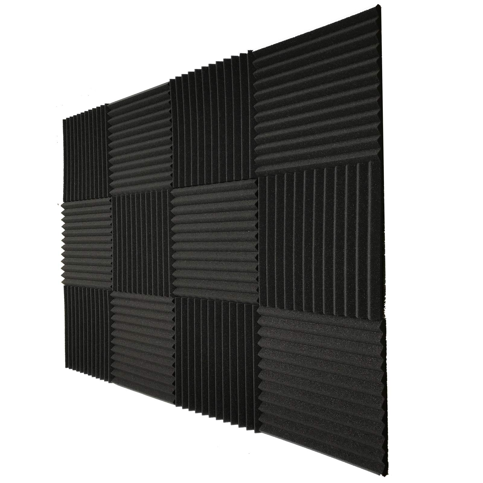 Teraves Acoustic Foam Panels -36 Pack Soundproofing Studio Foam Wedges Padding Wall Tiles 1'' X 12'' X 12''