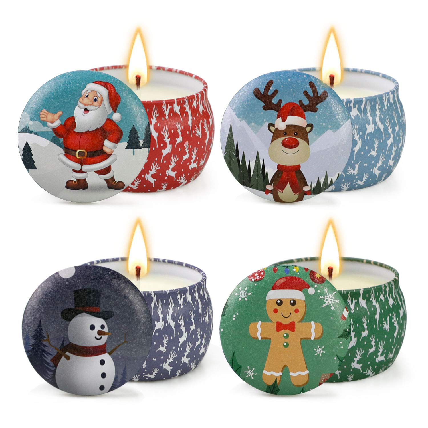 ALYSI Scented Candles Christmas Set Gift of 4 with Fir, Lavender, Cookies, Apple,Natural Soy Wax Portable Travel Tin Candle by ALYSI