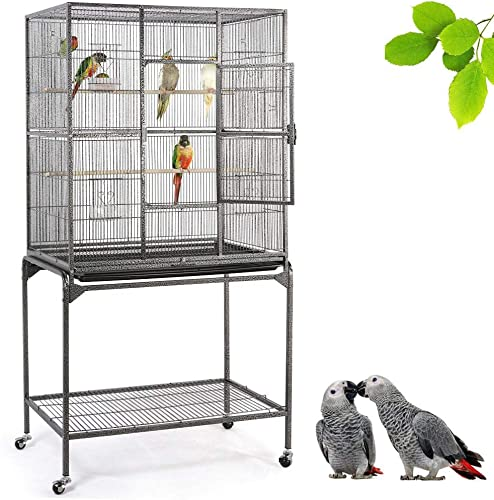 YAHEETECH 63-inch Wrought Iron Rolling Large Parrot Bird Cage for African Grey Amazon Quaker Parrot Cockatiel Sun Parakeet Green Cheek Conure Lovebird Budgie Finch Canary Bird Cage with Stand