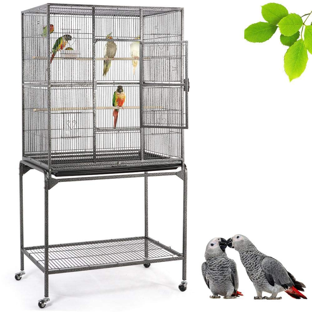 Yaheetech 63-inch Wrought Iron Rolling Large Bird Cage for African Grey Amazon Quaker Parrots Cockatiels Sun Parakeets Green Cheek Conures Lovebirds Budgies Finch Canary Bird Cage with Stand by Yaheetech