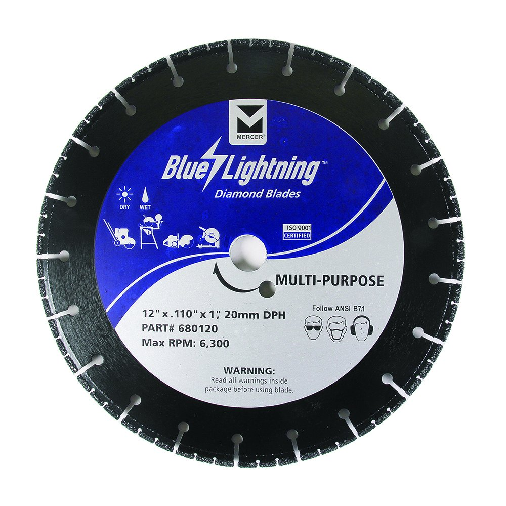 Disco de Diamante MERCER 680120 multipropósito Blue Lightning 12 pulg.