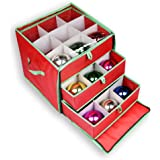 nGenius Christmas Ornament Storage Box with Drawers for 27 Large Ornaments
