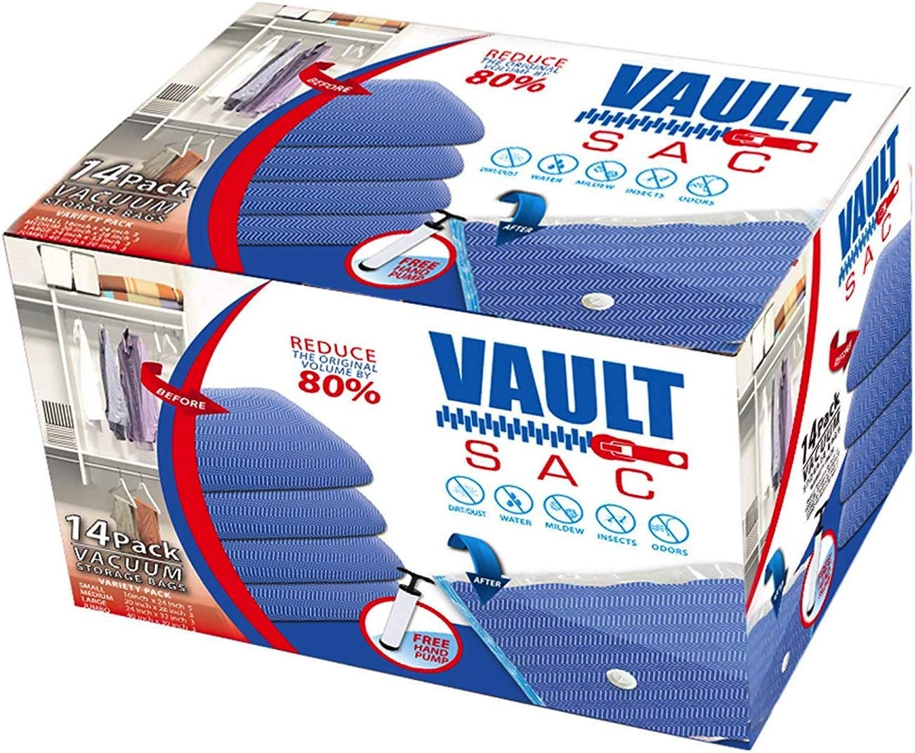 Vacuum Storage Bags | 14 PACK | 5 X JUMBO, 3 X LARGE, 3 X MEDIUM, 3 X SMALL | 80% MORE STORAGE for Clothes Blankets Duvets & Much More | Works with Any Vacuum Cleaner FREE Hand-Pump For Travel