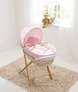 Isabella Alicia Traditional Stunning White Broderie Anglaise Maize Moses Basket with Folding Stand and Mattress