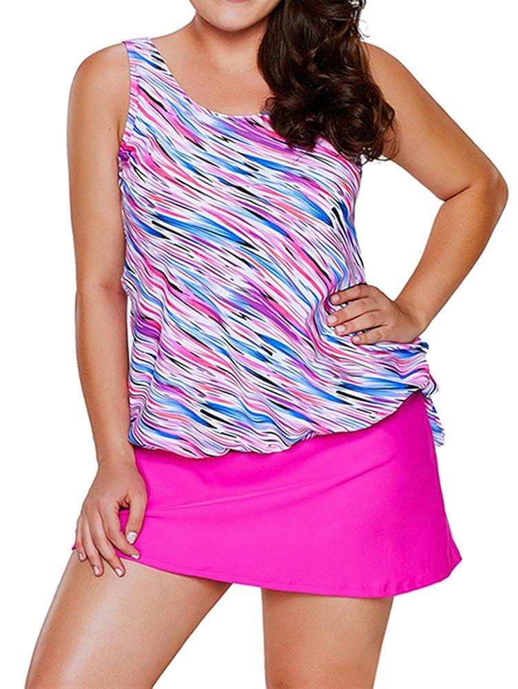 EnlaChic Women Print Blouson Tankini Top Swimsuit Swimwear with Bikini Bottom