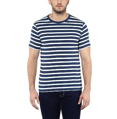 1b42cb58ce74 AMERICAN CREW Men's Round Neck White & Navy Melange Stripes T-Shirt - S (