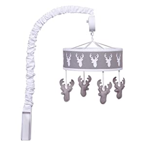 Trend Lab Felt Stag Musical Crib Mobile, Gray Woodland Deer Baby Mobile, Forest Animal Nursery Décor