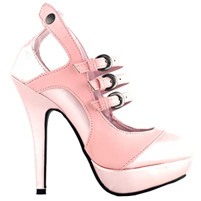 cb303be057c SHOW STORY Glam Mary Jane Baby Pink Vintage Stylish Cut-Out Heels for Women