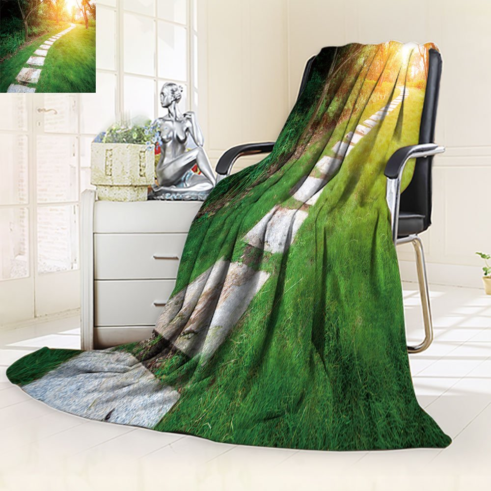 Nalahomeqq Microfiber All Season Blanket/Flannel Fleece Blanket/Luxury Blanket/Heavy Warm Blanket-Wrinkle and Fade Resistant Hypoallergenic Fleece Blanket-43 x 60''(wood stair way on green garden)