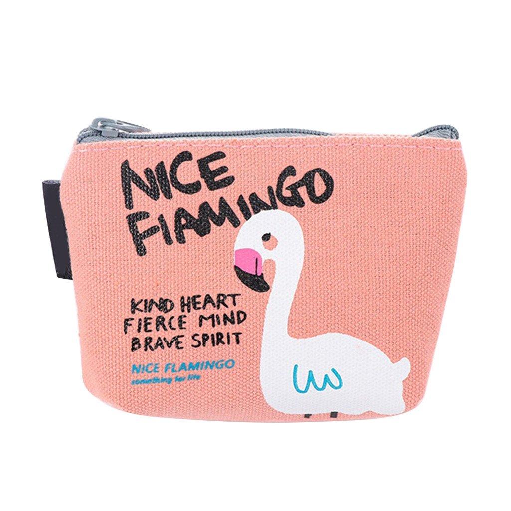 Colorido Cute Flamingos Canvas Coin Purse Card Holder Cash Zipper Wallet Bag Gift size Small (Pink)