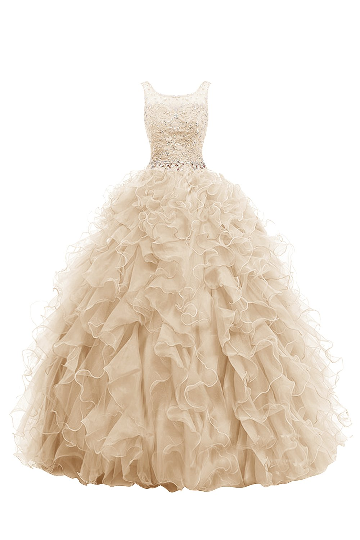 Dresstell 演奏会ドレス ステージドレス ロング丈 ビジュー付き ふわふわオーガンジー 編み上げ 花嫁ワンピース 結婚式ドレス B019MOYYA6 JP25W|シャンパン シャンパン JP25W