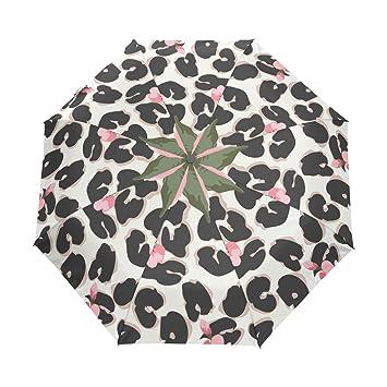bennigiry Cute Rosa leopardo resistente al viento impermeable compacto paraguas de viaje – Auto abierto cierre