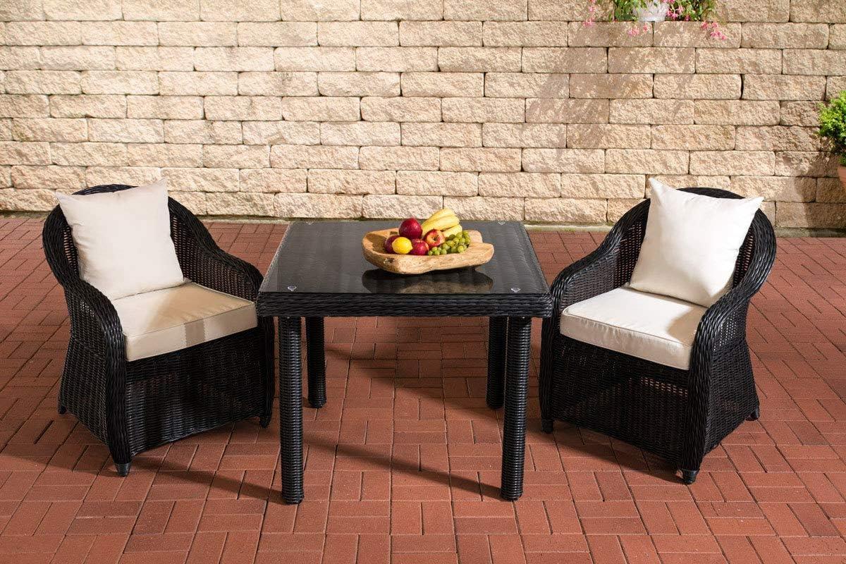 CLP Mobiliario de jardín San Juan | Juego de 2 Jardín con sillas y un Comedor 80 x 80 cm con klarglasplatte| Asiento Grupo con 2 Asientos: Amazon.es: Juguetes y juegos