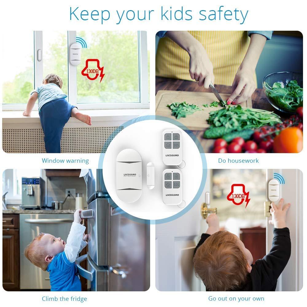2 Packungen LACORAMO T/üralarm und Fensteralarm MIT 2 Fernbedienungen Alarmmodus Oder Benachrichtigungsmodus Batterien Enthalten 130 Db Sirene,Drahtlose Home Security Alarmanlage Magnetsensor