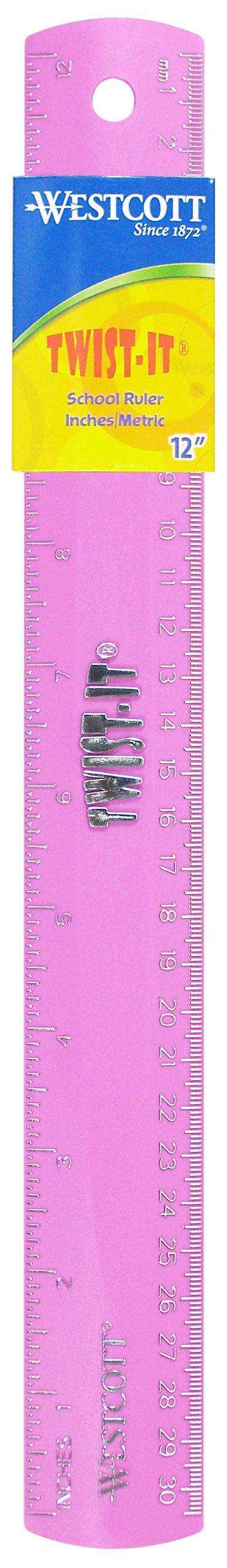 Westcott Twist-It Flexible Ruler, 12-Inch, Pink