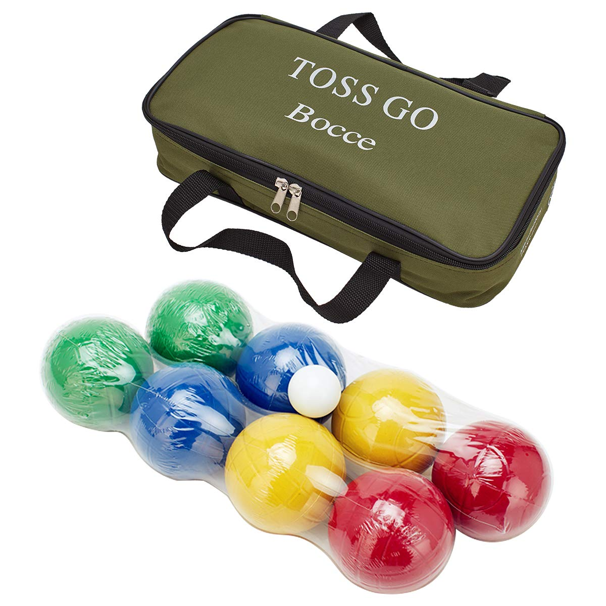 LAWN TIME Toss Go Bocce Set - Recreational Plastic 90mm Bocce Ball Set with Carrier Bag - Classic Outdoor Toss Game