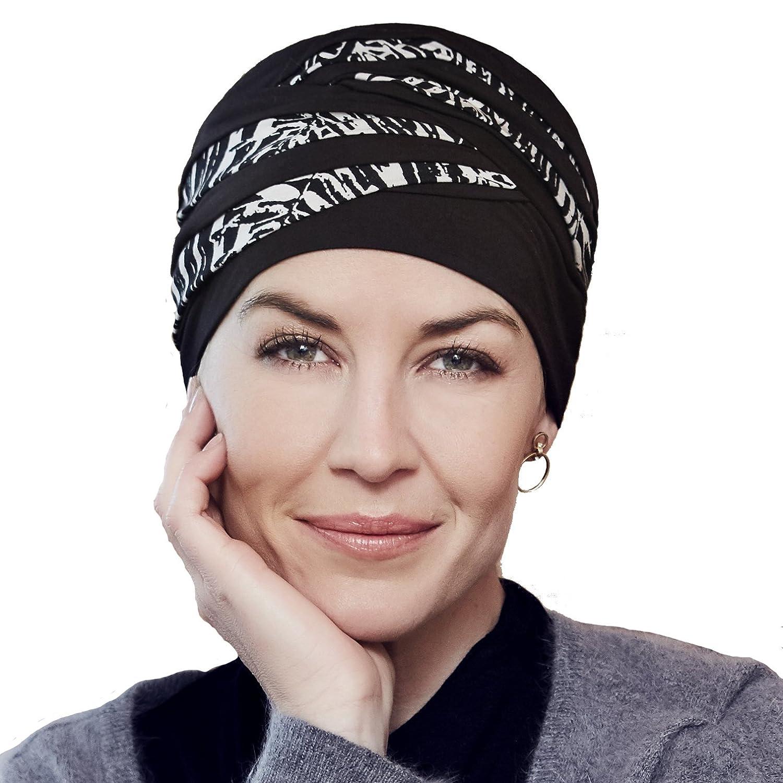 Turbante Shanti con bambú estampado blanco y negro para mujeres con alopecia