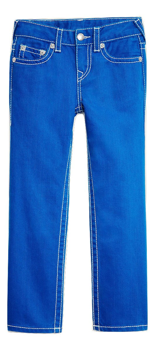 True Religion Kids Straight Leg w/Flap Big T Blue Jeans in Cobalt (3T, Cobalt)