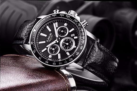Amazon.com: Relojes de Hombre Cronógrafo De Cuarzo Reloj Hombre De Moda para Caballero Movimiento Suizo Caja de Acero Inoxidable 2018 Nueva Colección ...