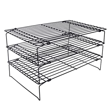 Whitelotous 3 Layers Folding Wire Cake Cooling Racks Cookie Bakery Oven Safe Metal Shelf Food Baking Tool, Single Layer(LXWXH)16 X10 X2