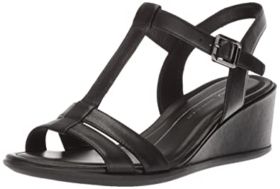 ECCO Women's Shape 35 Wedge Leather and Print T-Strap Sandals RECOw5m