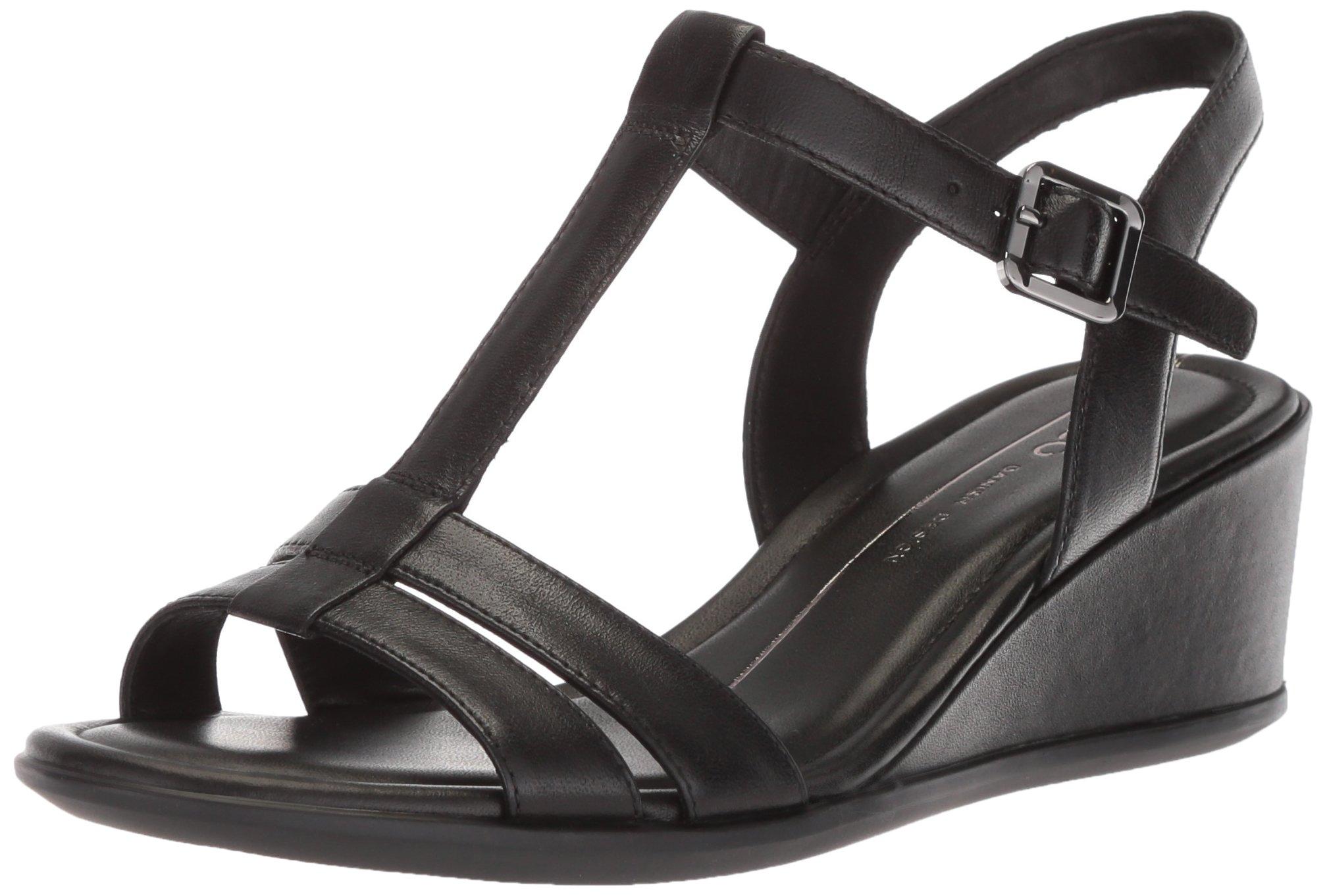 ECCO Women's Women's Shape 35 T-Strap Wedge Sandal, Black/Black, 37 M EU (6-6.5 US)