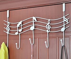 TESOON Over The Door Music Hanger Rack - Decorative Metal Hanger for Home Office Use White