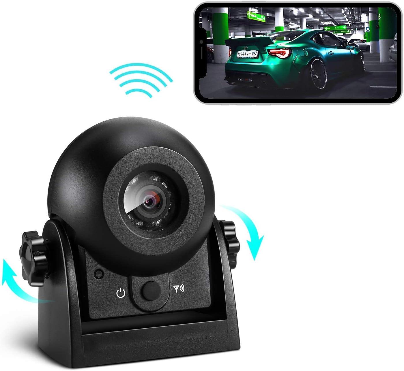 Cámara Vision Trasera para Coche Inalambrica, Uzone Magnética Cámara Trasera Coche WiFi IP67 Impermeable & Súper Visión Nocturna & Vista Gran Angular & Sísmica Prevención Polvo para Carava
