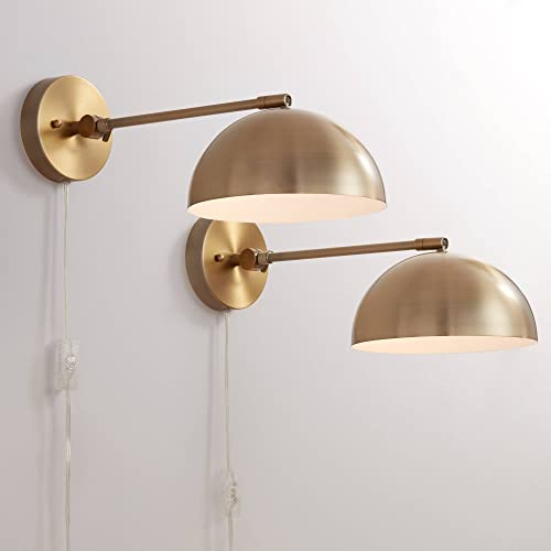 Brava Modern Indoor Adjustable Wall Lamps Set of 2 Antique Brass Plug-in Light Fixture Up Down Dome Shades
