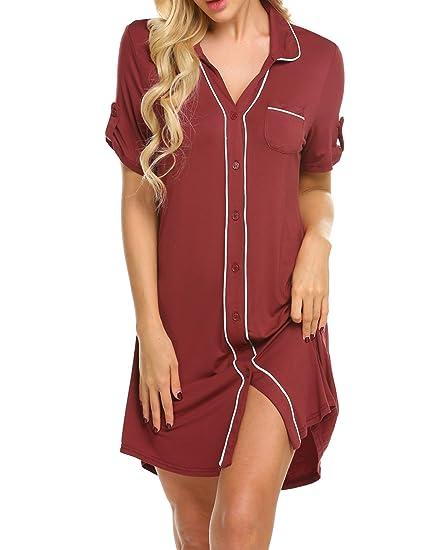 44fddaa07b8c9 MAXMODA Chemise de Nuit Femme vêtement de Nuit Bouton Pyjama Chemise Manches  Courtes en Coton Rouge