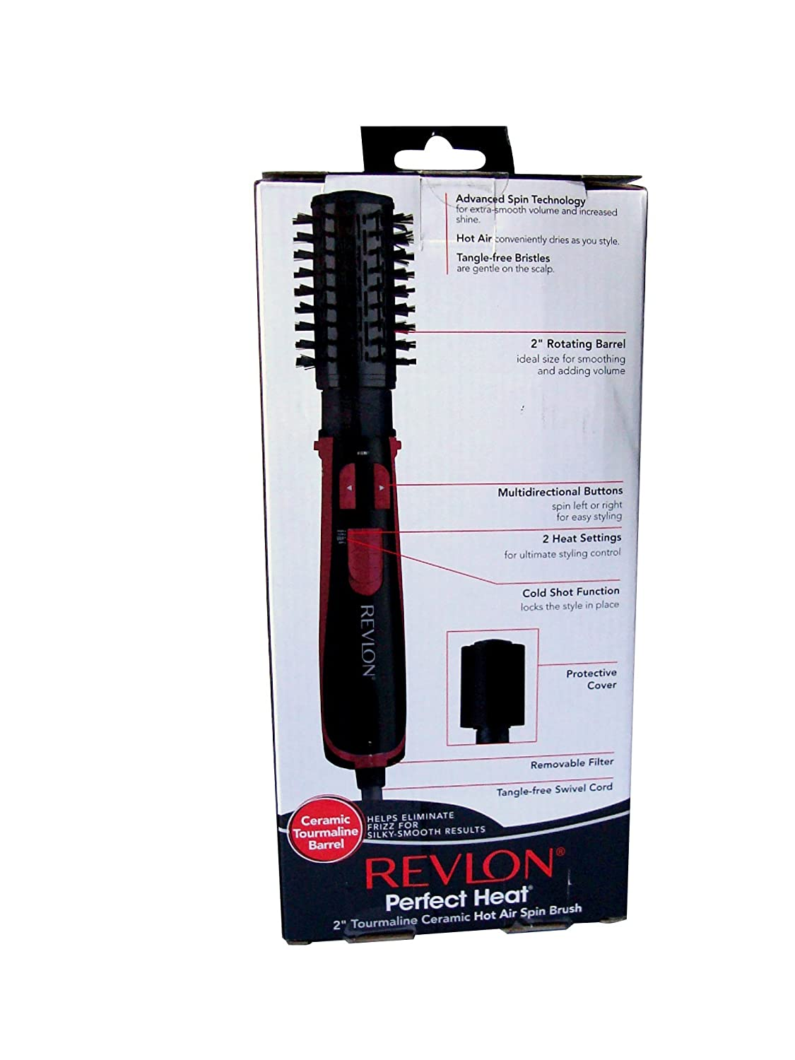 "Spin Brush For Bathroom: NEW REVLON PERFECT HEAT 2""HOT AIR SPIN BRUSH ROTATING"