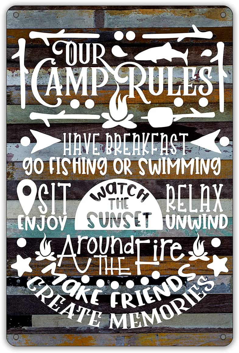 QIONGQI Funny Our Camp Rules Metal Tin Sign Wall Decor Farmhouse Rustic Camping Signs with Sayings for Home Camper Room Decor Gifts (Wooden Style)