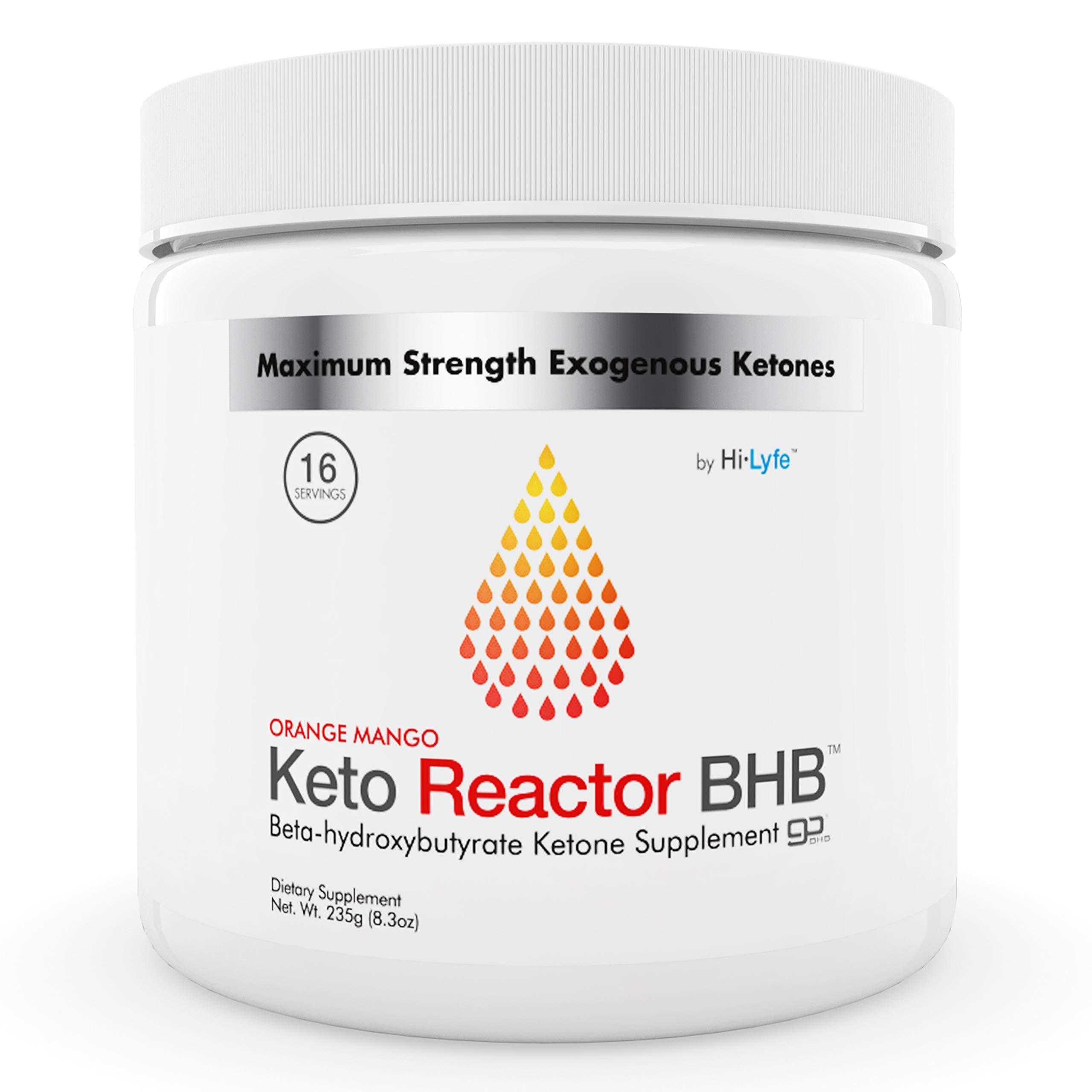 Keto Reactor Exogenous Ketone Powder | 11.4g Patented Go BHB Salts Supplement | 10X Shark Tank Keto Diet Pills Formula | Instant Ketosis, Energy & Focus | No Maltodextrin | by Hi-Lyte | Orange Mango